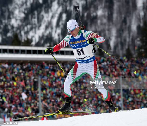 The biathlon athlete Krasimir Anev from Bulgaria participates in the men's 10 km sprint within the Biathlon Worldcup at the Chiemgau Arena in...