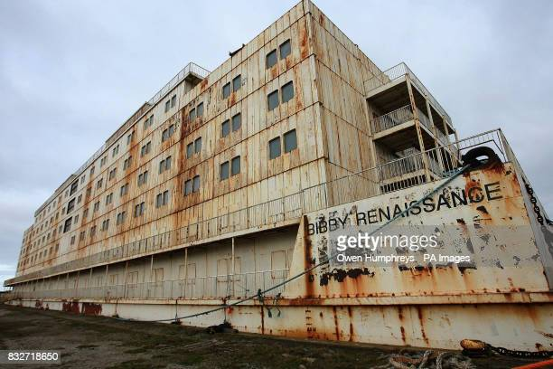 The Bibby Renaissance Prison ship which is 400ft long, six stories high and can hold up to 800 prisoners in Furness docks, Barrow - it has remained...