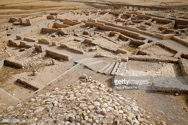 the biblical tels of beer sheba. - archaeology stock pictures, royalty-free photos & images