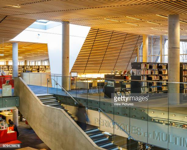 The Bibliothèque du Boisé Montreal Canada Architect Lemay Architectes 2013 The ceiling fold bisects the library and brings in natural light