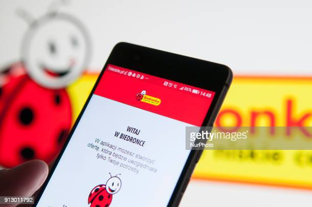 The Biedronka discount supermarket application is seen on an Android device in this photo illustration on February 1 2018