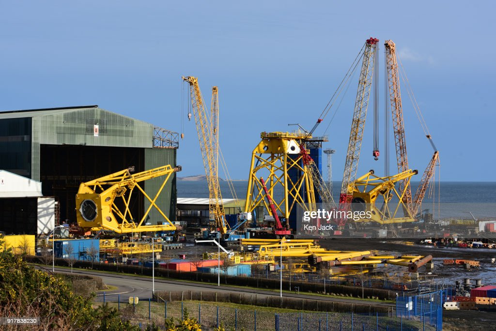 The BiFab Methil yard in Fife where many of the workforce were to be issued with redundancy notices today, on February 13, 2018 in Buckhaven, Scotland. The company faced possible administration in November 2017 following disputes over a contract to supply large-scale metal jackets for offshore wind turbines, but was enabled to continue trading by a deal brokered by the Scottish Government, however the contract is now nearing completion.