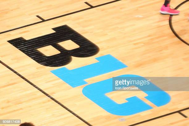 The Big 10 logo on the court during the first half of a semi final round Big Ten Tournament College Basketball Game between the Michigan State...
