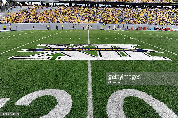 The Big 12 logo on the field during the game between the West Virginia Mountaineers and the Maryland Terrapins on September 22 2012 at Mountaineer...