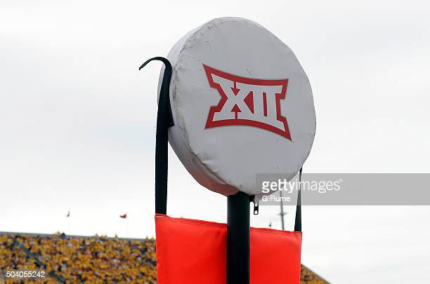 The Big 12 logo on the yardage marker during the game between the West Virginia Mountaineers and the Maryland Terrapins at Mountaineer Field on...