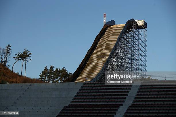 The Big Air ramp at the Alpensia Ski Jumping Centre venue for Ski Jumping Big Air and Nordic Combined ahead of the 2018 PyeongChang Winter Olympics...