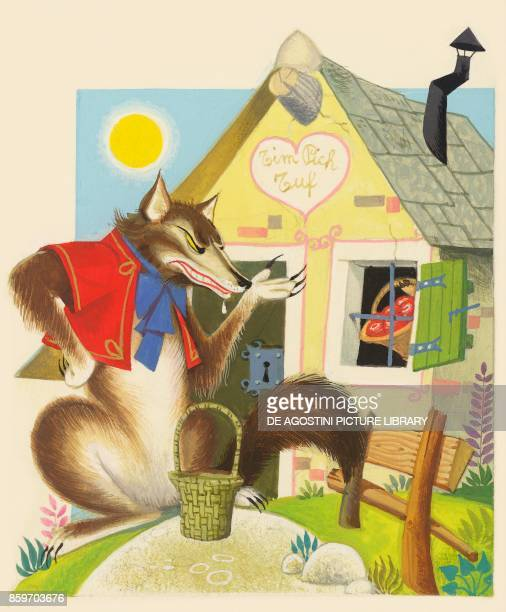 The big bad wolf in disguise knocking at the door of the three little pigs' house children's illustration drawing