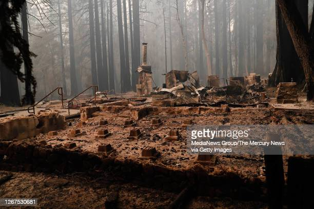The Big Basin Redwoods State Park Headquarters & Visitor Center is burned to the ground during a blaze in Boulder Creek, Calif., on Thursday, Aug....