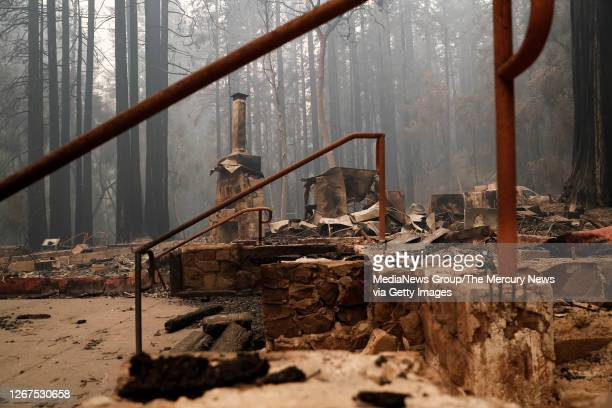 The Big Basin Redwoods State Park Headquarters & Visitor Center lies in ruins in Boulder Creek, Calif., on Thursday, Aug. 20, 2020.