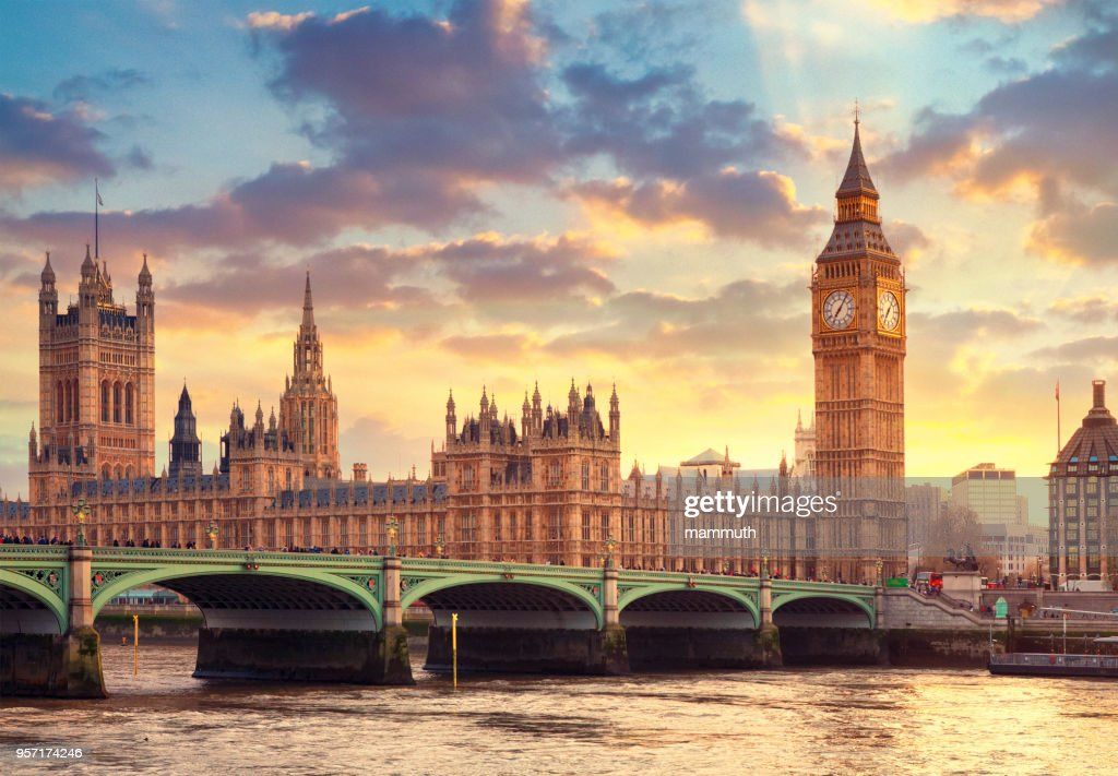 The Big Ben in London and the House of Parliament : Stock Photo
