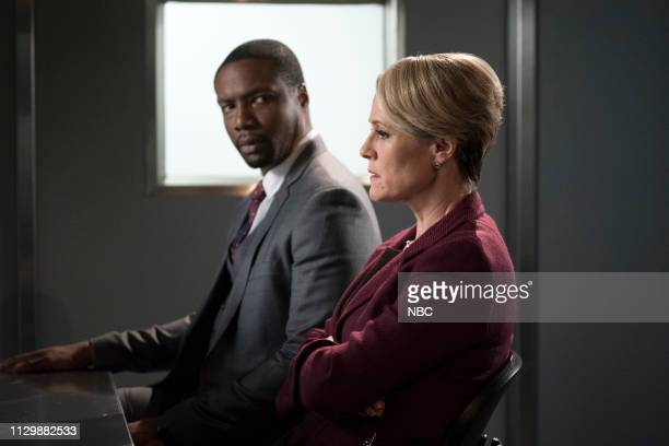 BLINDSPOT 'The Big Blast from the Past Episode' Episode 414 Pictured Rob Brown as Edgar Reade Mary Stuart Masterson as Eleanor Hirst