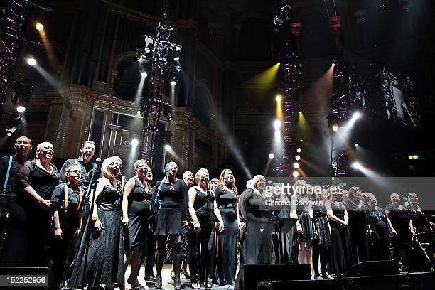 The Big C a choir formed of cancer survivors performs on stage during The Sunflower Jam at Royal Albert Hall on September 16 2012 in London United...