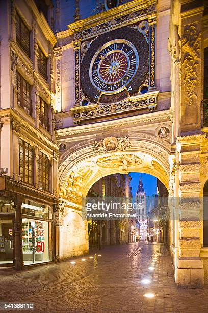 the big clock and gros horloge street in rouen, france - rouen stock pictures, royalty-free photos & images