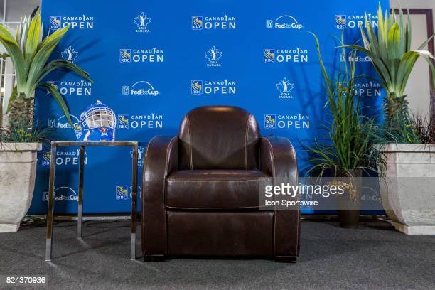 The big comfy chair waits for interviews in the press conference room during third round of the RBC Canadian Open on July 29 at Glen Abbey Golf Club...