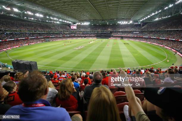 The big crowd look on during the Big Bash League match between the Melbourne Renegades and the Melbourne Stars at Etihad Stadium on January 12 2018...