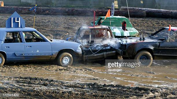 the big crunch in demolition derby - car racing stock pictures, royalty-free photos & images