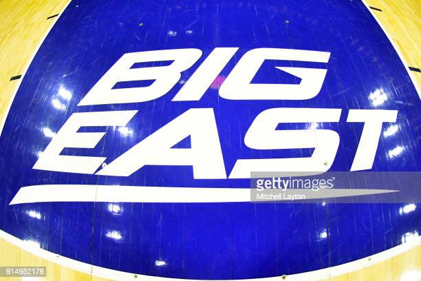 The Big East logo on the floor before a college basketball game between the Villanova Wildcats and the Creighton Bluejays at the Wells Fargo Arena on...