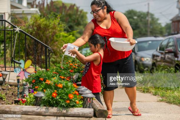 the big happy latino, mexican-american family. the little girl watering flowers nearby the porch, when her mother and sisters watching - settler stock pictures, royalty-free photos & images