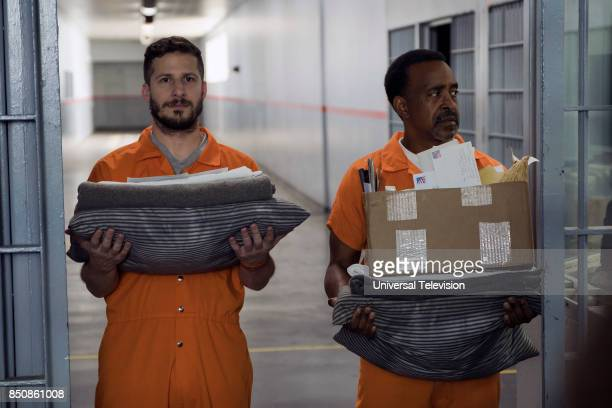 """The Big House Pt. 1"""" Episode 501 -- Pictured: Andy Samberg as Jake Peralta, Tim Meadows as Caleb --"""
