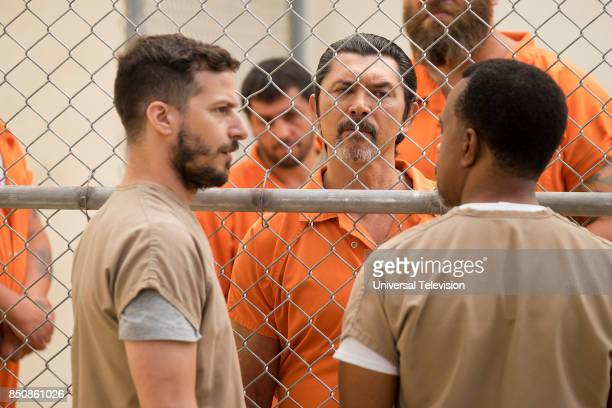 """The Big House Pt. 1"""" Episode 501 -- Pictured: Andy Samberg as Jake Peralta, Lou Diamond Phillips as Romero, Tim Meadows as Caleb --"""