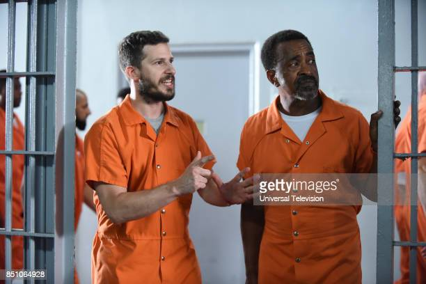 """The Big House Pt. 2"""" Episode 502 -- Pictured: Andy Samberg as Jake Peralta, Tim Meadows as Caleb --"""