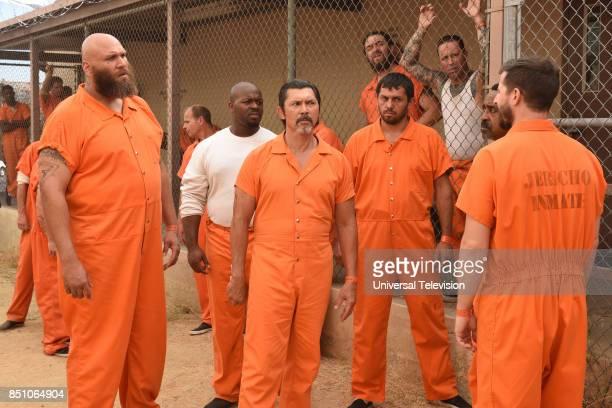 "The Big House Pt. 2"" Episode 502 -- Pictured: Winston James Francis as Tank, Lou Diamond Phillips as Romero, Tim Meadows as Caleb, Andy Samberg as..."