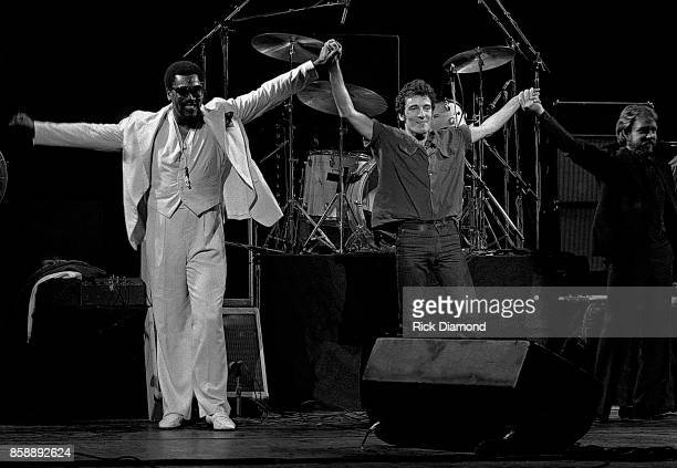 The Big Man Clarence Clemons and Singer/Songwriter Bruce Springsteen of Bruce Springsteen The E Street Band perform at The Fox Theater in Atlanta...