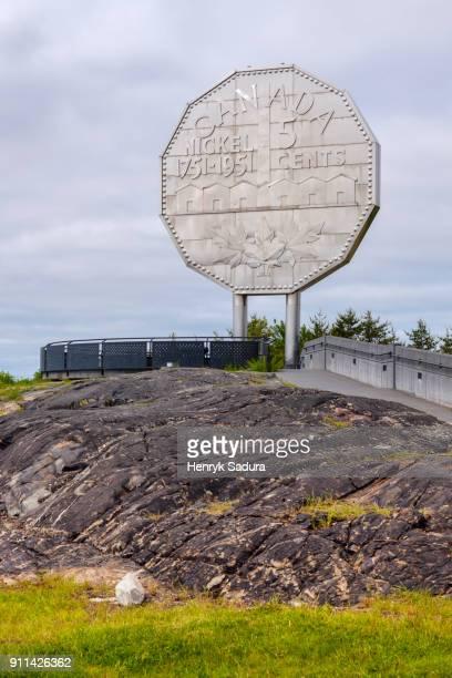 the big nickel in sudbury - sudbury canada stock photos and pictures