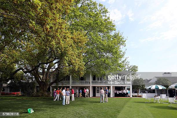 The big oak tree watches over the clubhouse during the practice round for the 2015 Masters Tournament at the Augusta National Golf Club in Augusta...