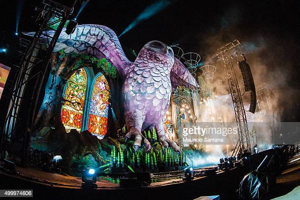 The big Owl with the eyes closed during EDC Electric Daisy Carnival at Autodromo de Interlagos on December 04 2015 in Sao Paulo Brazil