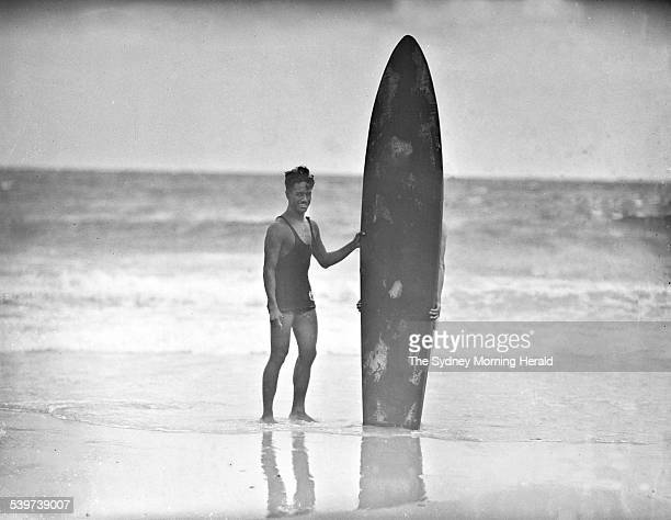 The Big Picture Sam Kahanamoku the grandfather of surfing with his board at a surf lifesavers' carnival at Bondi 1936 SMH Picture by HARRY MARTIN