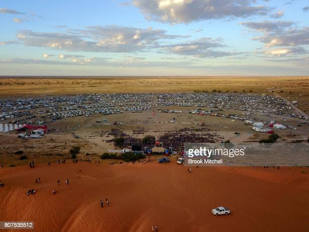 The Big Red sand dune overlooks the site of The Birdsville Big Red Bash 2017 on July 4 2017 in Birdsville Australia