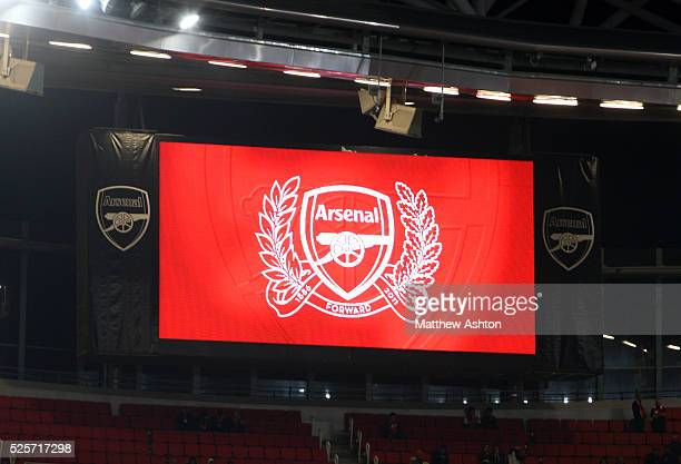 The big screen at the Emirates Stadium showing the Arsenal crest