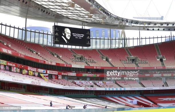 The big screen displays a message in memory of the Duke of Edinburgh, whose funeral took place yesterday, ahead of the Premier League match at the...