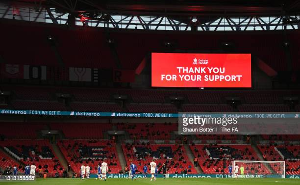 The big screen displays a message thanking the fans for their support during the Semi Final of the Emirates FA Cup between Leicester City and...