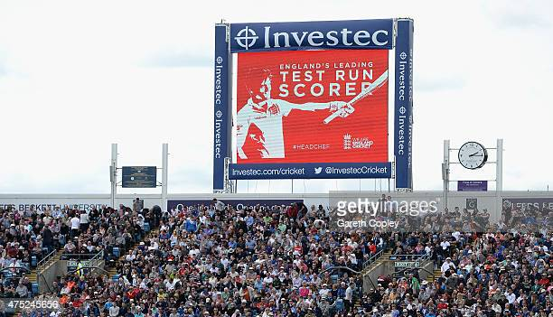 The big screen displays a message to England captain Alastair Cook after he became England's leading test run scorer during day two of 2nd Investec...