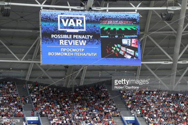The big screen displays a VAR review to award a penalty to Australia during the 2018 FIFA World Cup Russia group C match between Denmark and...