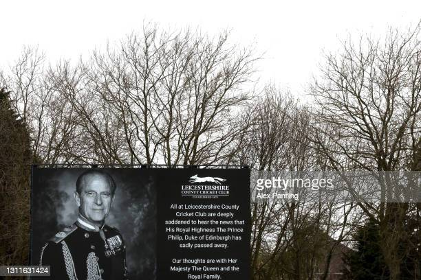 The big screen inside the stadium displays a message in relation to the death of Prince Philip, Duke of Edinburgh during day two of the LV= Insurance...