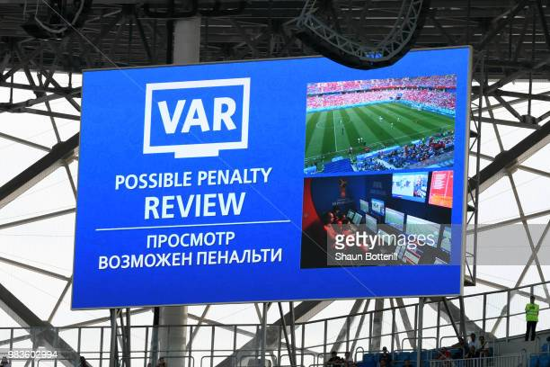 The big screen inside the stadium displays a VAR penalty review during the 2018 FIFA World Cup Russia group A match between Saudia Arabia and Egypt...