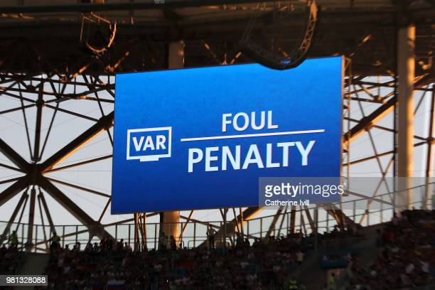 The big screen inside the stadium shows that a VAR review has resulted in Iceland being awarded a penalty during the 2018 FIFA World Cup Russia group...