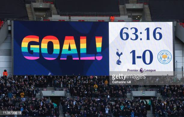 The big screen scoreboard showing a rainbow laces goal sign during the Premier League match between Tottenham Hotspur and Leicester City at Wembley...