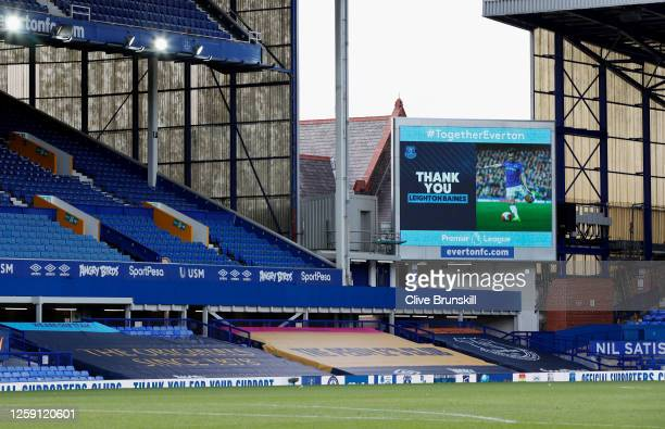 The big screen shows a thank you message for Leighton Baines of Everton after he announced his retirement after the Premier League match between...