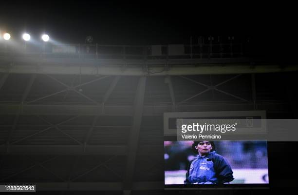 The big screen shows a tribute in memory of Diego Maradona ahead of the Serie A match between Torino FC and UC Sampdoria at Stadio Olimpico di Torino...