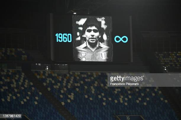 The big screen shows an image in memory of Diego Maradona during the UEFA Europa League Group F stage match between SSC Napoli and HNK Rijeka at...