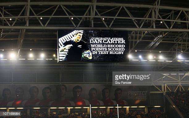 The big screen shows Dan Carter of the All Blacks world points record during the Test match between Wales and the New Zealand All Blacks at...