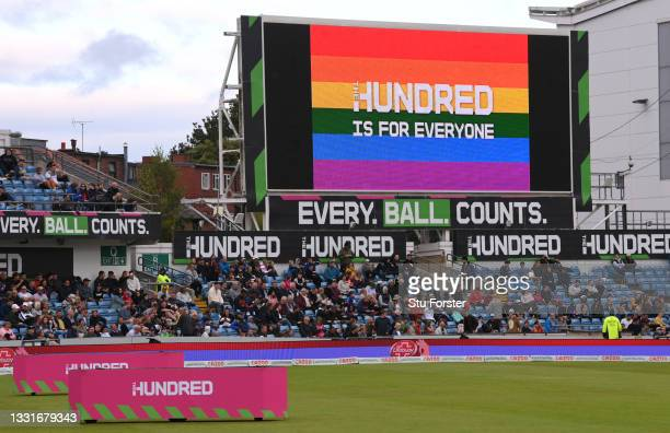 """The big screen shows that """"Hundred is for Everyone"""" during The Hundred match between Northern Superchargers Men and Oval Invincibles Men at Emerald..."""