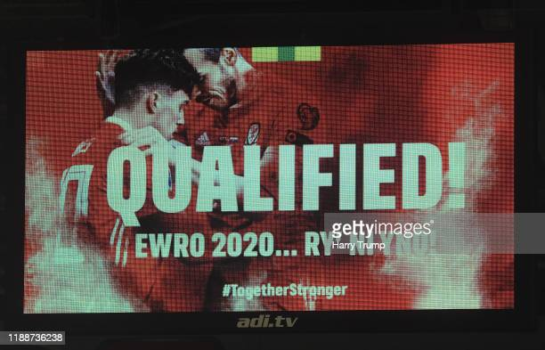 The big screen shows that Wales have Qualified during the UEFA Euro 2020 qualifier between Wales and Hungary so at Cardiff City Stadium on November...