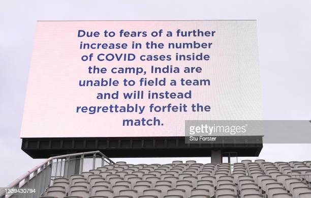 The big screen shows the cancellation of the Test Match during day one of the Fifth Test Match between England and India at Emirates Old Trafford on...