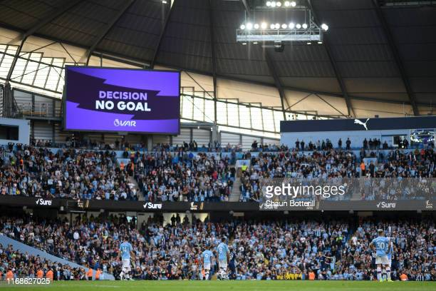The big screen shows the VAR decision of No Goal for Gabriel Jesus of Manchester City third goal during the Premier League match between Manchester...