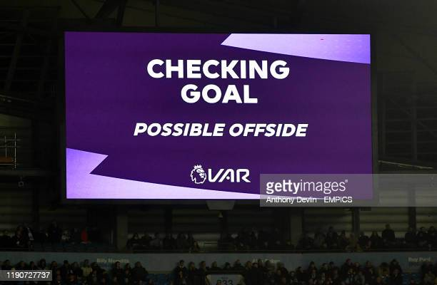 The big screen shows VAR checking for possible offside against Sheffield United's Lys Mousset Manchester City v Sheffield United Premier League...